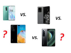 In review: Xiaomi Mi 10 Ultra, Huawei P40 Pro Plus, Samsung Galaxy S20 Ultra, and OnePlus 8 Pro. Test devices provided by Huawei Germany, Samsung Germany, and Trading Shenzhen.
