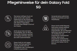 A look at the care instructions that Samsung includes with the Galaxy Fold, albeit in German.