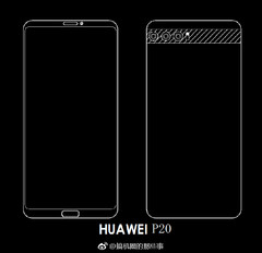 The P20 baseline model will have an 18:9 display and a horizontally aligned tri-camera setup (Source: Weibo)