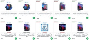 Intel Core CPU prices. (DirectDial via momomo_us)