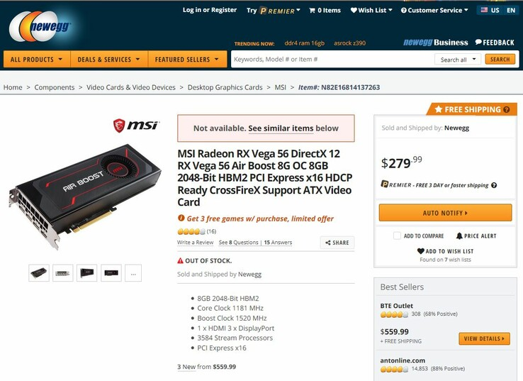The Vega 56 was briefly listed for US$279. (Source: Newegg)
