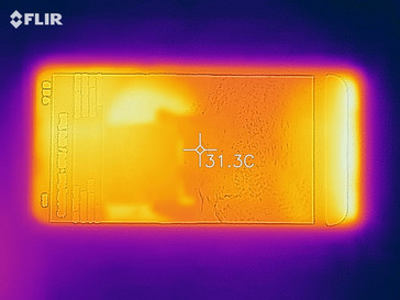 Heatmap of the front of the device under sustained load