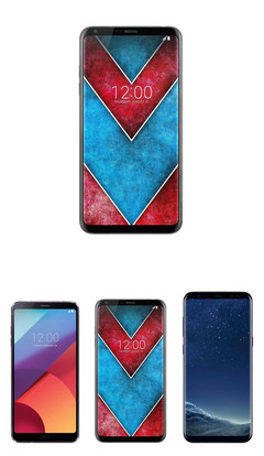 At top: LG V30; On bottom: LG G6, LG V30, and Samsung Galaxy S8+, respectively. (Source: @UniverseIce | Twitter)