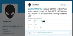 """Official"" confirmation: The Thunderbolt port on the XPS 15 is only attached via 2 PCIe lanes."
