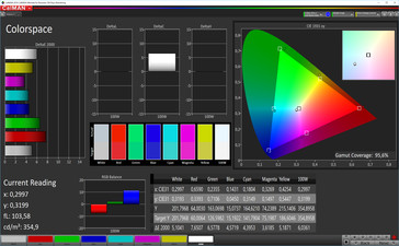 CalMAN color space (target color space AdobeRGB), profile: customizable