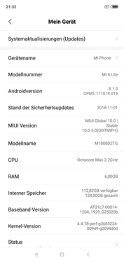 Software: Xiaomi Mi 8 Lite MIUI Global 10.0