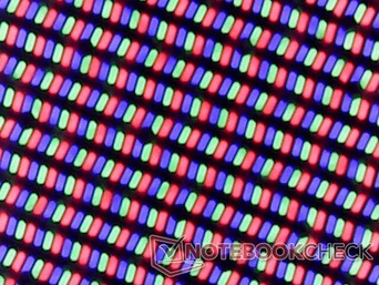 Crisp RGB subpixel array as expected from a glossy panel