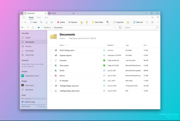 The showcased Fluent Design File Explorer appears to match the upcoming light theme. (Source: Michael West)