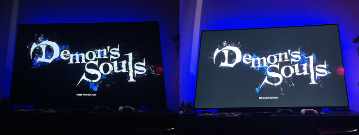Demon's Souls with HDR enabled and with SDR enabled, from left to right. (Image source: Tim Rogers)