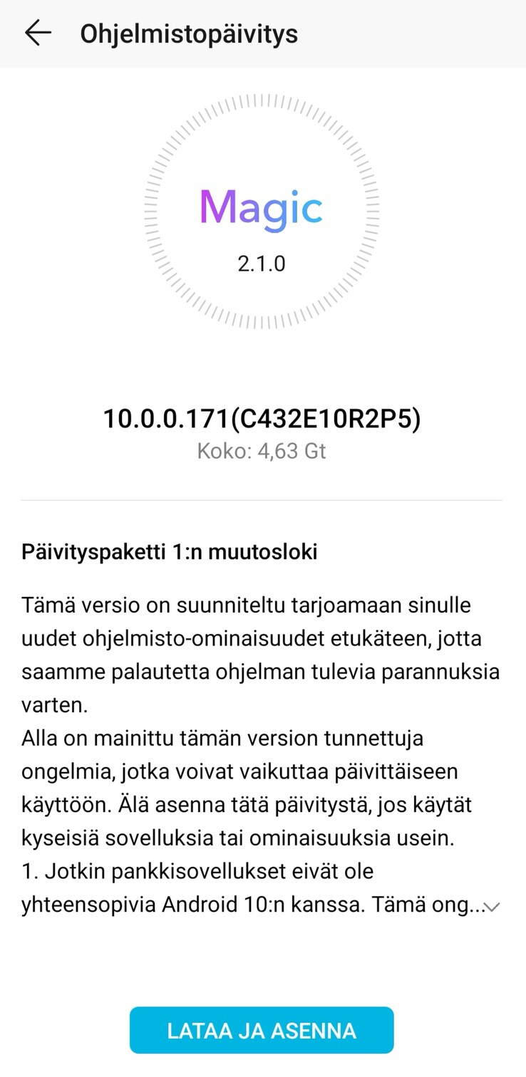 The Honor View 20 is also receiving the Android 10-based Magic UI 3.0 update. (Source: u/Gathorall)