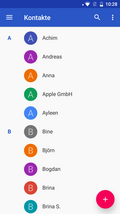 Contact list of the Mi A1