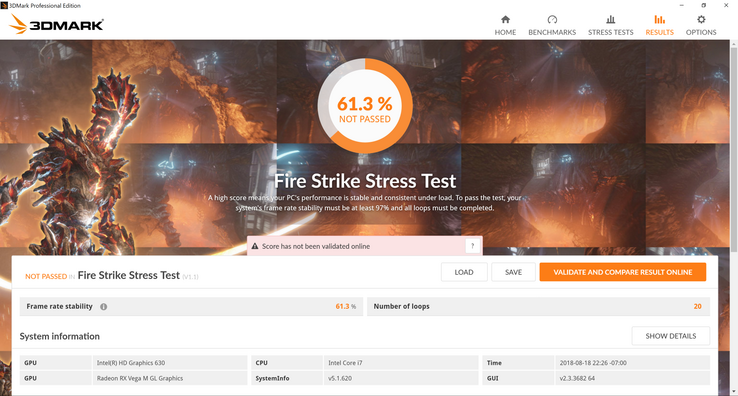 Fire Strike Stress Test fail