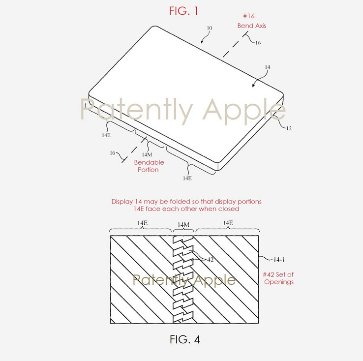 Schematics featured in the foldable phone patent files (Source: Patently Apple)