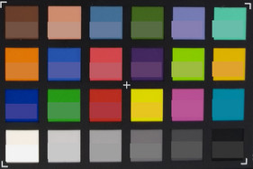 ColorChecker: target colour is displayed in the lower half of each colour square