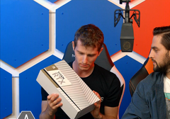 The NVIDIA RTX Titan's box as teased by Linus on the WAN show. (Source: LinusTechTips on YouTube)