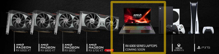 Laptops powered by Radeon RX 6000 mobile GPUs will be coming soon. (Image via Videocardz)