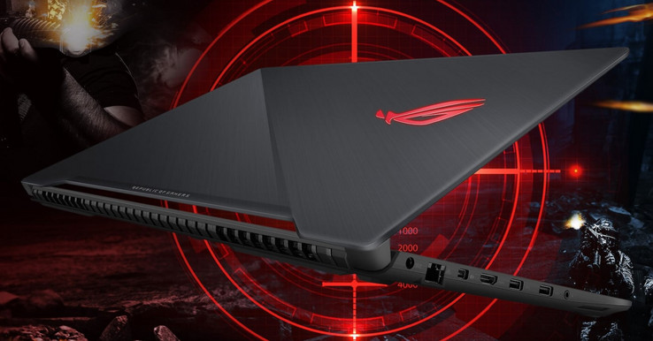 The Strix Scar come with a scar-like design on the outer display casing. (Source: Asus)