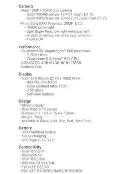 Xiaomi Mi A2 Spec Sheet. (Source: Xiaomi)