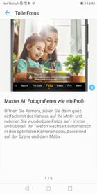 Advice from Huawei about using the Master AI within the default camera app; just some of the information provided within the tips app