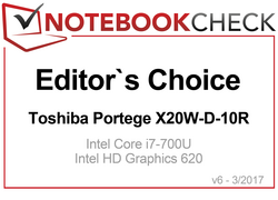 Editor's Choice Award in March 2017: Toshiba Portege X20W