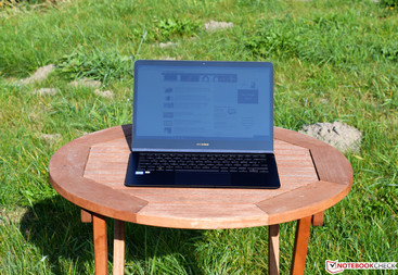The Asus ZenBook Flip S in the sun