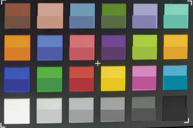 Photograph of ColorChecker colors. The lower half of each area shows the reference color.