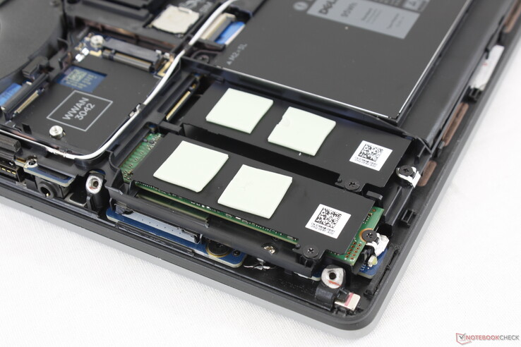 Two of the M.2 slots are under the bottom right palm rest. There are no internal 2.5-inch SATA III bays