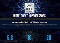Intel Core i9-10900K. (Image source: Intel/VideoCardz)