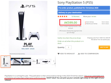 PS5 placeholder price estimate. (Image source: VPD - machine translated)