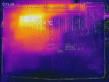 Thermal profile, underside, full stress