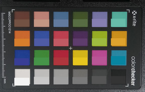 ColorChecker colors photographed; the original color is digitally portrayed in the bottom half of each color patch