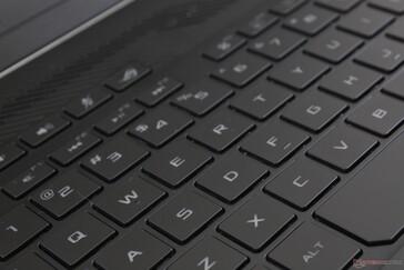 Font abu-abu gelap sangat kontras dengan tutup tombol kecuali jika lampu latar putih zona tunggal diaktifkan