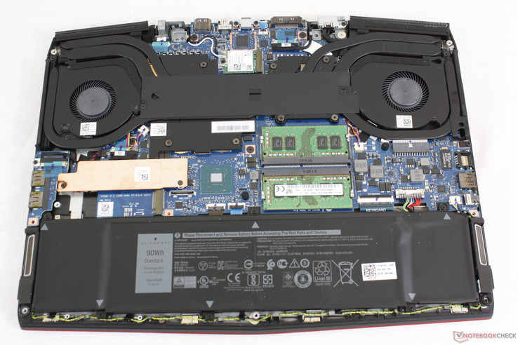 Open motherboard as opposed to the thicker and more protective skeleton of the Alienware 15