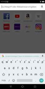 Using the default keyboard in landscape mode