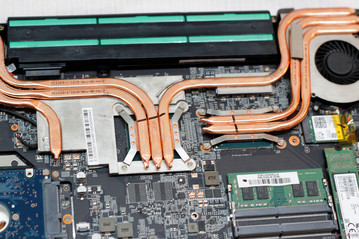 GPU (left, under 3 heat pipes) and CPU (right, under 2 heat pipes)