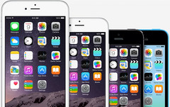 Apple iPhone lineup - iPhone 6 Plus, iPhone 6, iPhone 5S, and iPhone 5c