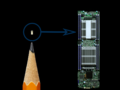 The reported tiny Chinese spy chip in question was smaller than a pencil tip. (Source: Debuglies via Bloomberg)