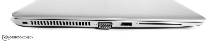 Left side: Kensington lock, VGA, USB 3.0 Type-A, SmartCard Reader