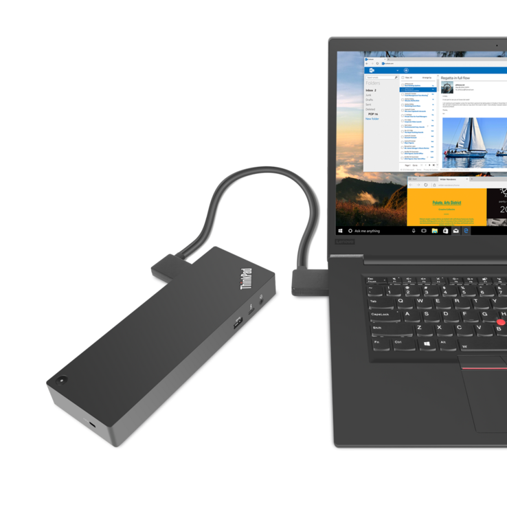 The second picture shows the ThinkPad P1 alongside the ThinkPad Thunderbolt 3 Workstation dock
