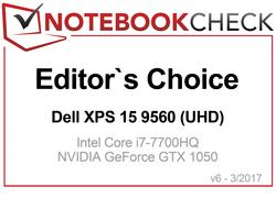 Editor's Choice Award in April 2017: Dell XPS 15 9560 (UHD)