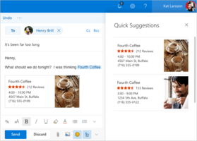 Smarter inbox features for linking businesses, flights, and more. (Source: Microsoft)