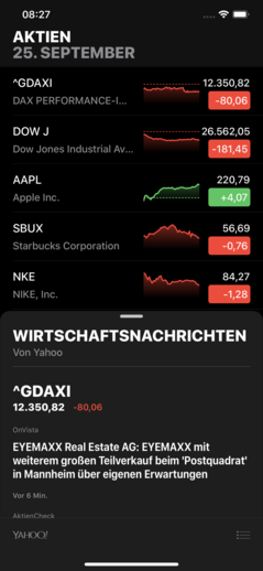 The redesigned Stocks app