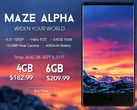 Maze Alpha variants late August 2017, Maze Alpha with 6 GB RAM now available