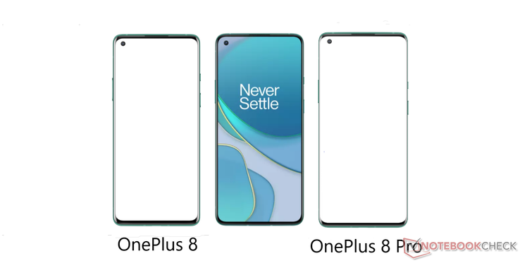 "The face-on ""8T"" image compared to those of the OnePlus 8 and 8 Pro. (Source: Notebookcheck)"
