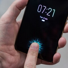 Under-display fingerprint readers debuted at CES 2018. (Source: The Verge)