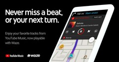 YouTube Music can now be used from within Waze. (Source: Google)