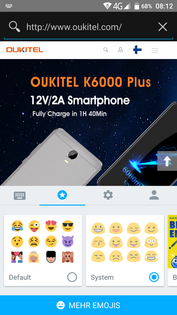 Oukitel K6000 Plus - switching between Android and standard Emojis