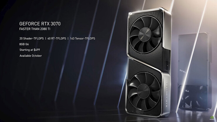 NVIDIA claims that the RTX 3070 is faster than the RTX 2080 Ti. (Image source: NVIDIA)