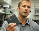 IBM Research Exploratory Tape Scientist Mark Lantz explains how 330 TB could fit into the cartridge he is holding. (Source: PC Mag)