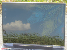 The Yoga 730 outside (shot in direct sunlight; the sun is behind the device)